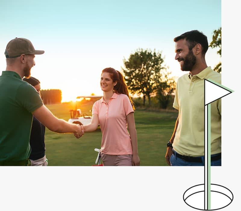 Begrüßung auf dem Golfplatz